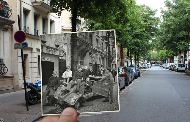 Children pose for the camera on Avenue Mozart, Paris, in the 1940s. (Photo by Julien Knez/Caters News)