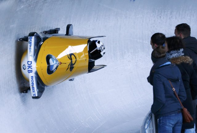 Bobsleigh, BMW IBSF Bob & Skeleton World Championships, 2-man training, Koenigssee, Germany on February 15, 2017. Pilot Richard Oelsner of Germany in action. (Photo by Arnd Wiegmann/Reuters)