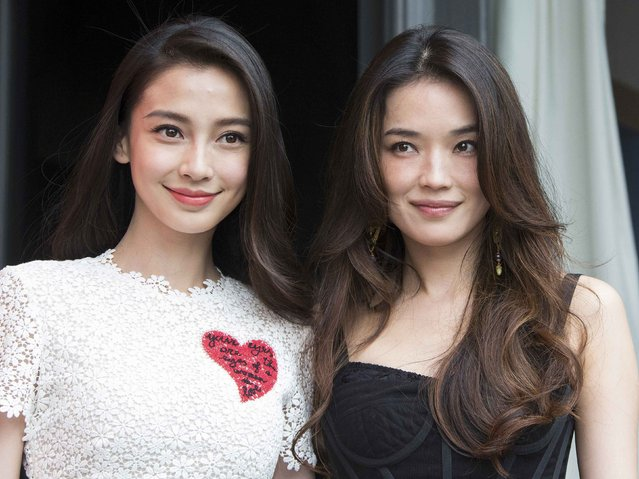 "Cast members Angelababy (L) and Shu Qi (R) pose during a photocall for the film ""The Ghouls"" at the 68th Cannes Film Festival in Cannes, southern France, May 14, 2015. (Photo by Yves Herman/Reuters)"