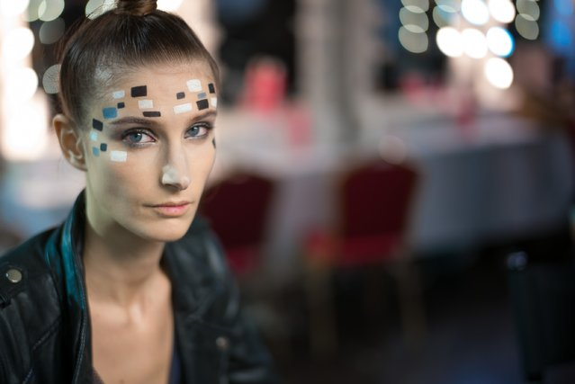 A model backstage ahead of the Three Fifty Nine show during Fashion Forward Fall/Winter 2016 held at the Dubai Design District on April 2, 2016 in Dubai, United Arab Emirates. (Photo by Ian Gavan/Getty Images)