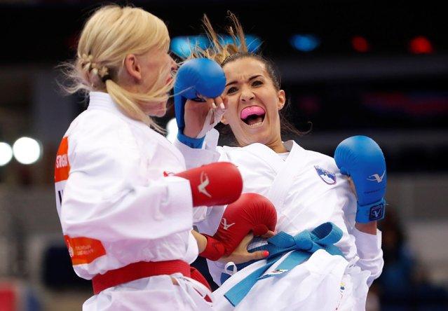 Slovenia's Tjasa Ristic in action against Ukraine's Anita Serogina during the women's Kumite -61kg karate final at the 2019 European Games in Minsk, Belarus on June 30, 2019. (Photo by Vasily Fedosenko/Reuters)