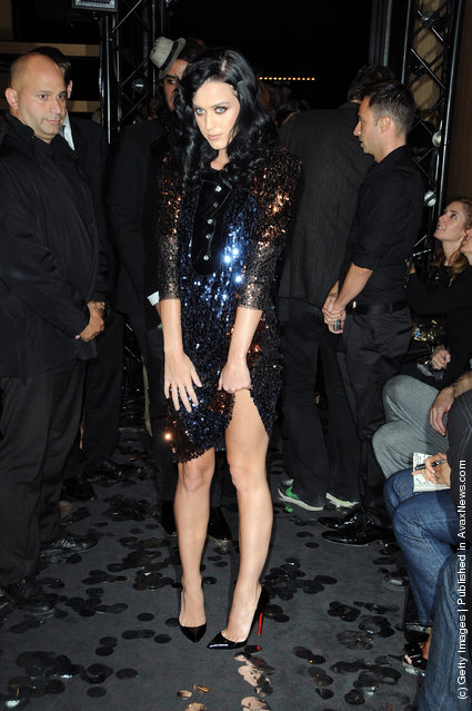 Katy Perry attends the Sonia Rykiel Pret a Porter show as part of the Paris Womenswear Fashion Week Spring/Summer 2010 at Boutique Rykiel on October 4, 2009 in Paris, France