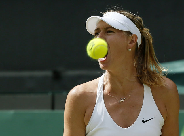 Maria Sharapova of Russia reacts during her match against Coco Vandeweghe of the U.S.A. at the Wimbledon Tennis Championships in London, July 7, 2015. (Photo by Stefan Wermuth/Reuters)