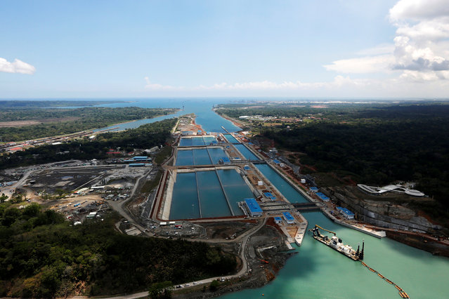 An aerial view of the new Panama Canal expansion project on the Atlantic side May 12, 2016. The expansion project will allow bigger ships to transit, with two new sets of locks, one on the Pacific side and one on the Atlantic side. (Photo by Carlos Jasso/Reuters)