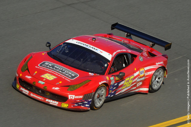 The #56 GT AF-Waltrip Ferrari driven by Robert Kaffman, Michael Waltrip, Travis Pastrana and Rui Aguas drivers during the Rolex 24