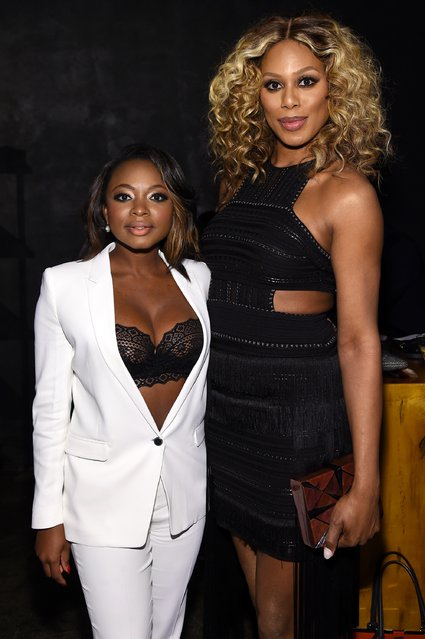Actors Naturi Naughton (L) and Laverne Cox attend the Entertainment Weekly & People Upfronts party 2016 at Cedar Lake on May 16, 2016 in New York City. (Photo by Jamie McCarthy/Getty Images for Entertainment Weekly & People )