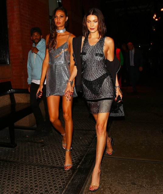 Bella Hadid and Joan Smalls are seen attending the Rei Kawakubo/Comme des Garcons: Art Of The In-Between' Costume Institute Gala – After Party on May 02, 2017 in New York City. (Photo by Splash News and Pictures)
