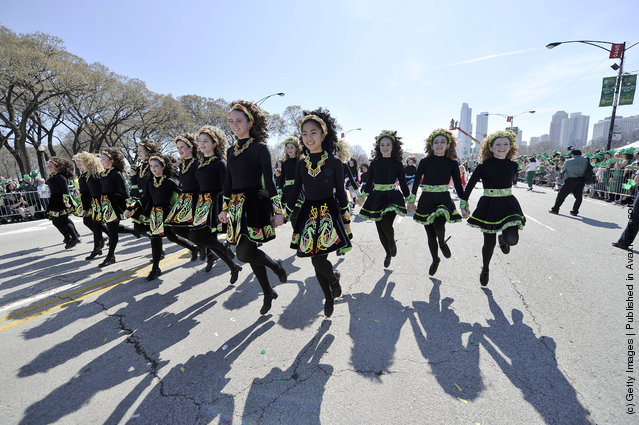 Irish step dancers participate in the St. Patrick's Day parade on March 17, 2012 in Chicago, Illinois
