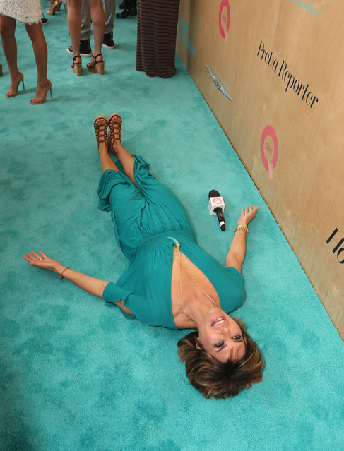 Lisa Rinna matches the carpet at the Ovarian Cancer Research Fund Alliance's 3rd Annual Super Saturday Los Angeles at Barker Hangar on June 11, 2016 in Santa Monica, California. (Photo by Todd Williamson/Getty Images)