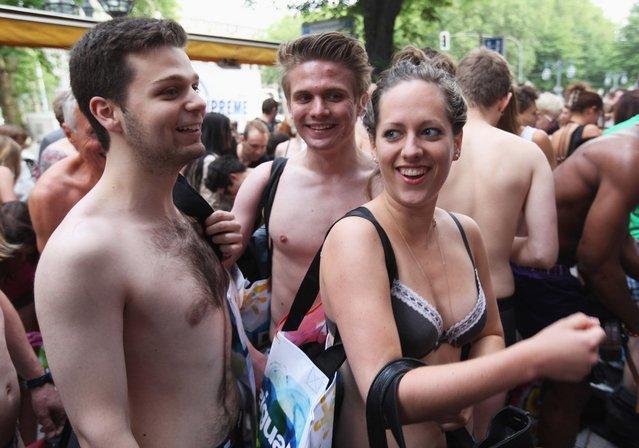 Semi-nude shoppers