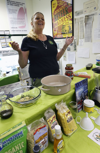 In this Thursday, July 10, 2014, photo, Melissa Fitzgerald discusses how to prepare a cannabis-infused dipping sauce during a cooking class at the New England Grass Roots Institute in Quincy, Mass. The Washington state Liquor Control Board adopted rules to require recreational marijuana products to be labeled clearly as such; to be scored so a serving size is easy to distinguish; and to be approved by the board before sale. (Photo by Michael Dwyer/AP Photo)