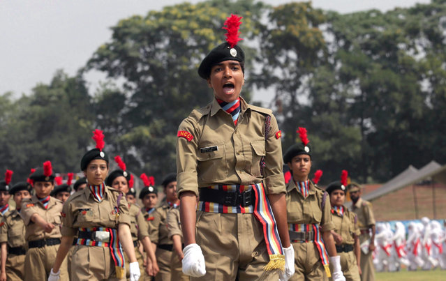 Female members of the National Cadet Corps (NCC) march during a rehearsal parade ahead of the Independence Day celebrations in Srinagar, the summer capital of Indian Kashmir, India, 13 August 2015. (Photo by Farooq Khan/EPA)