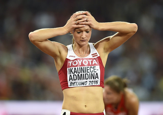 Laura Ikauniece-Admidina of Latvia reacts after her heat in the 200 metres event of the women's heptathlon at the 15th IAAF World Championships at the National Stadium in Beijing, China August 22, 2015. (Photo by Dylan Martinez/Reuters)
