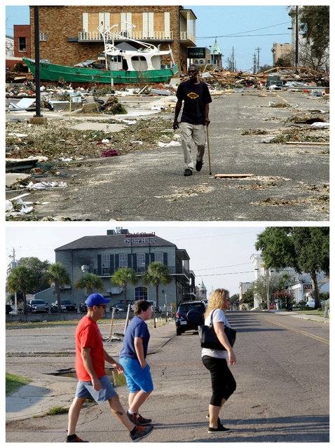 This combination of August 30, 2005 and August 14, 2015 photos shows Odell Harville walking past debris from Hurricane Katrina on Lameuse St. in Biloxi, Miss., and the same site a decade later. The storm caused major damage to the Gulf Coast from Texas to central Florida. (Photo by Jay Reeves/Gerald Herbert/AP Photo)
