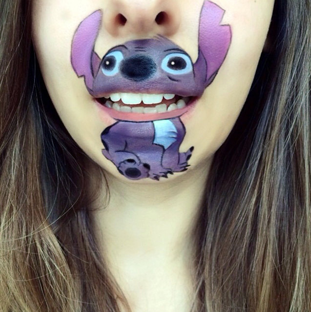 An inventive make-up artist has started using her chin as a canvas for unique paintings of popular cartoon characters. Using her own mouth as the teeth and lips of her subjects, stunning Laura Jenkinson, 25, paints around them using theatrical make-up to create the pint-sized portraits. (Photo by Laura Jenkinson/Caters News)