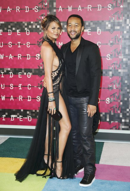 Model Chrissy Teigen and musician John Legend arrive at the 2015 MTV Video Music Awards in Los Angeles, California, August 30, 2015. (Photo by Danny Moloshok/Reuters)