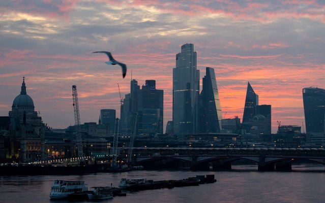 The London skyline at sunrise, April 8, 2020, showing St Paul's Cathedral and skyscrapers in the City financial district, including the Leadenhall Building, and 20 Fenchurch Street (also known as the Walkie Talkie). (Photo by Dominic Lipinski/PA Images via Getty Images)