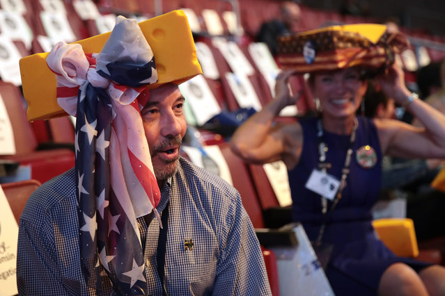 Wisconsin delegate Michael Childers attends the fourth day of the Democratic National Convention at the Wells Fargo Center, July 28, 2016 in Philadelphia, Pennsylvania. Democratic presidential candidate Hillary Clinton received the number of votes needed to secure the party's nomination. An estimated 50,000 people are expected in Philadelphia, including hundreds of protesters and members of the media. The four-day Democratic National Convention kicked off July 25. (Photo by Drew Angerer/Getty Images)
