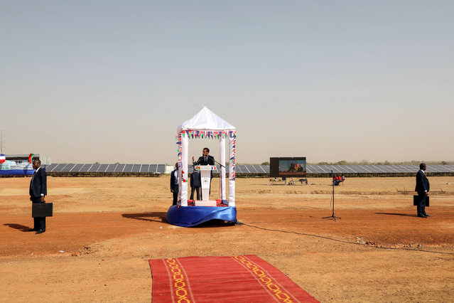 French president Emmanuel Macron delivers a speech during the inauguration ceremony of the solar energy power plant in Zaktubi, near Ouagadougou, on november 29, 2017, on the second day of his first African tour since taking office. (Photo by Reuters/Stringer)