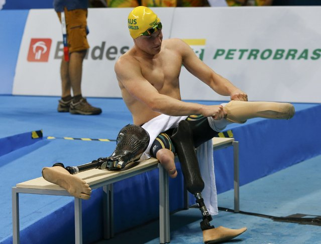 2016 Rio Paralympics, Swimming, Men's 400m Freestyle, S8, Olympic Stadium, Rio de Janeiro, Brazil on September 8, 2016. Jesse Aungles of Australia after the final. (Photo by Carlos Garcia Rawlins/Reuters)