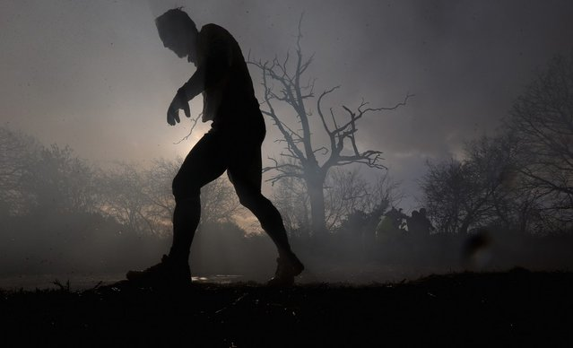 A competitor in action during the Tough Guy Challenge on January 27, 2013 in Telford, England.  (Photo by Ian Walton)