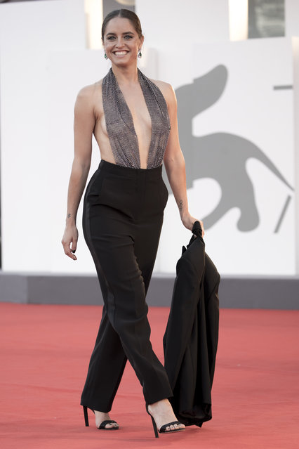 """Italian television and film actress Matilde Gioli walks the red carpet ahead of the movie """"Miss Marx"""" at the 77th Venice Film Festival on September 05, 2020 in Venice, Italy. (Photo by Alessandra Benedetti – Corbis/Corbis via Getty Images)"""