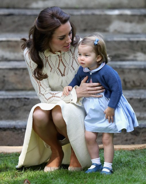 Catherine, Duchess of Cambridge and Princess Charlotte of Cambridge at a children's party for Military families during the Royal Tour of Canada on September 29, 2016 in Carcross, Canada. Prince William, Duke of Cambridge, Catherine, Duchess of Cambridge, Prince George and Princess Charlotte are visiting Canada as part of an eight day visit to the country taking in areas such as Bella Bella, Whitehorse and Kelowna.  (Photo by Chris Jackson/Getty Images)