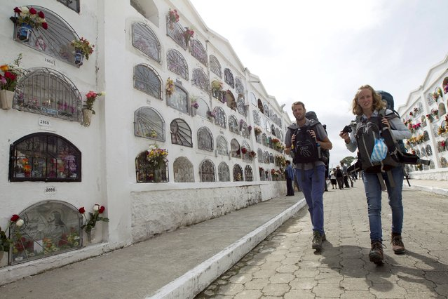 Tourists walk among graves at a cemetery, known for its topiary art, during the observance of the Day of the Dead, in Tulcan, Ecuador November 2, 2015. (Photo by Guillermo Granja/Reuters)