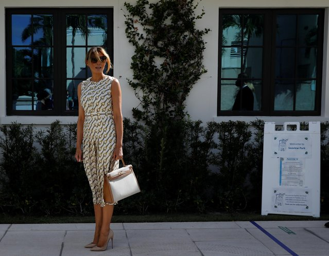 U.S. first lady Melania Trump leaves after casting her vote during the 2020 presidential election at Morton and Barbara Mandel Recreation Center in Palm Beach, Florida, U.S., November 3, 2020. (Photo by Marco Bello/Reuters)