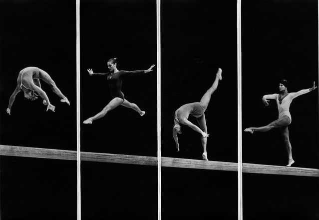 University gymnastics, Moscow, 1973. Experimenting with form and abstraction, this collage of four different photos taken by Alexander Abaza turns a gymnastics routine into an alphabet of gestures. (Photo by Alexander Abaza/Lumiere Brothers Center for Photography)