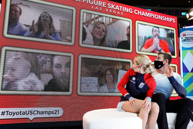 Alexa Knierim and Brandon Frazier react after competing in the pairs free skate program during the U.S. Figure Skating Championships at the Orleans Arena on January 16, 2021 in Las Vegas, Nevada. (Photo by Tim Nwachukwu/Getty Images)