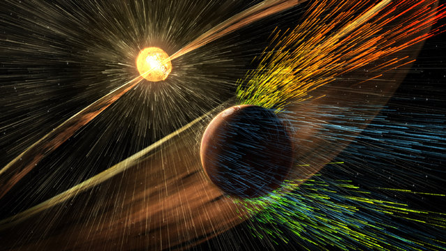 An artist's rendering depicts a solar storm hitting Mars and stripping ions from the planet's upper atmosphere. Scientists have documented a solar storm blasting away Mars' atmosphere, an important clue in a long-standing mystery of how a planet that was once like Earth turned into a cold, dry desert. In March, NASA's Mars-orbiting MAVEN spacecraft caught such a storm stripping away the planet's atmosphere. Image released November 5, 2015. (Photo by Reuters/NASA/Goddard Space Flight Center)