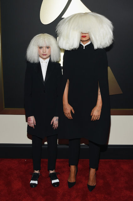 Dancer Maddie Ziegler and singer/songwriter Sia attend The 57th Annual GRAMMY Awards at the STAPLES Center on February 8, 2015 in Los Angeles, California.  (Photo by Larry Busacca/Getty Images for NARAS)