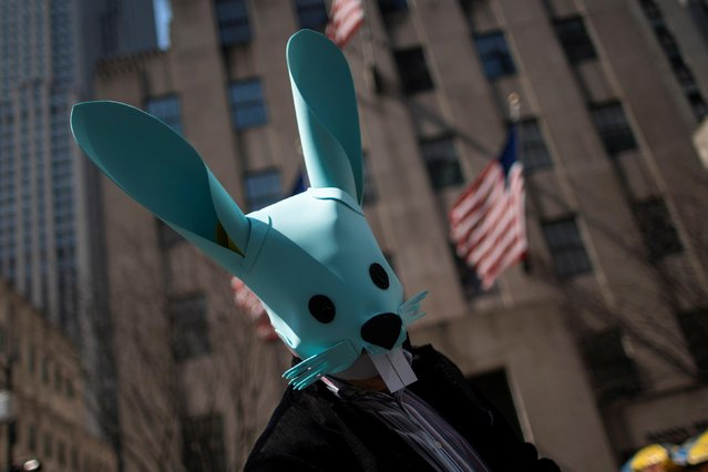A participant attends the annual Easter Parade and Bonnet Festival on Fifth Avenue, amid the coronavirus disease (COVID-19) pandemic, in New York City, U.S., April 4, 2021. (Photo by Eduardo Munoz/Reuters)