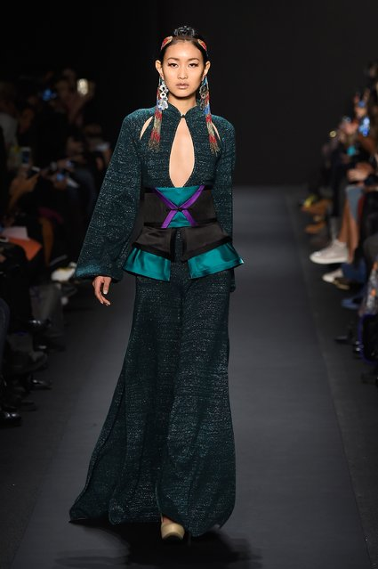 A model walks the runway at the Mongol fashion show during Mercedes-Benz Fashion Week Fall 2015 at The Theatre at Lincoln Center on February 13, 2015 in New York City. (Photo by Frazer Harrison/Getty Images for Mercedes-Benz Fashion Week)