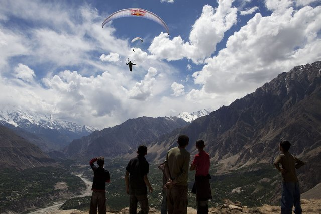 Argentinian Red Bull pilot Hernan Pitocco in Hunza valley, Pakistan. (Photo by Krystle Wright/Caters News)