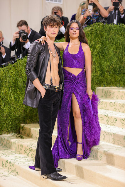 Shawn Mendes and Camila Cabello attend The 2021 Met Gala Celebrating In America: A Lexicon Of Fashion at Metropolitan Museum of Art on September 13, 2021 in New York City. (Photo by Theo Wargo/Getty Images)