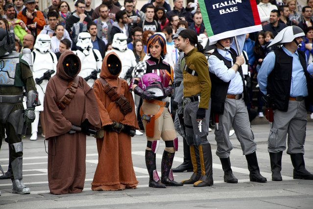 Costumed participants attend a Star Wars Parade in Milan, Italy, May 3, 2015. The next Star Wars movie is set for release in 2018. (Photo by Mourad Balti Touati/EPA)