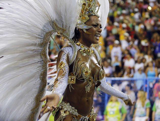 A reveller of the Imperio da Tijuca samba school participates in the annual Carnival parade in Rio de Janeiro's Sambadrome, March 2, 2014. (Photo by Sergio Moraes/Reuters)