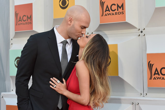 Former NFL player Mike Caussin and recording artist/actress Jana Kramer attend the 51st Academy of Country Music Awards at MGM Grand Garden Arena on April 3, 2016 in Las Vegas, Nevada. (Photo by David Becker/Getty Images)
