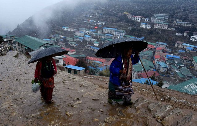 Two Nepalese women use umbrellas during a wet snow shower as they walk up a path high above the north eastern Nepalese town of Namche Bazar on April 17, 2015. (Photo by Roberto Schmidt/AFP Photo)