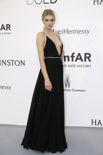 Model Lily Donaldson poses for photographers upon arrival for the amfAR Cinema Against AIDS benefit at the Hotel du Cap-Eden-Roc, during the 68th Cannes international film festival, Cap d'Antibes, southern France, Thursday, May 21, 2015. (Photo by Thibault Camus/AP Photo)