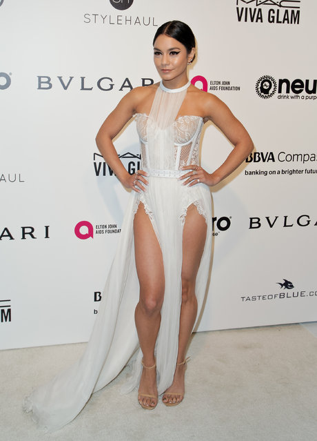 US actress Vanessa Hudgens poses upon her arrival for the 25th annual Elton John AIDS Foundation's Academy Awards Viewing Party on February 26, 2017 in West Hollywood, California. (Photo by Tibrina Hobson/AFP Photo)