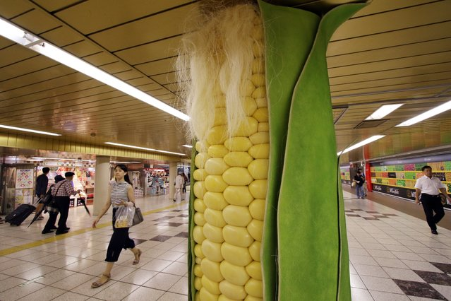 Pedestrians watch a large corn decoration cover at a underground passage of a subway station in Tokyo on September 2, 2015. Japan Agriculture Cooperative decorated the pillars of the underground passage with vegetable shaped covers such as radish, carrot, corn, cucumber, eggplant and sweet potato for the promotion of the domestically produced vegetables. (Photo by Yoshikazu Tsuno/AFP Photo)