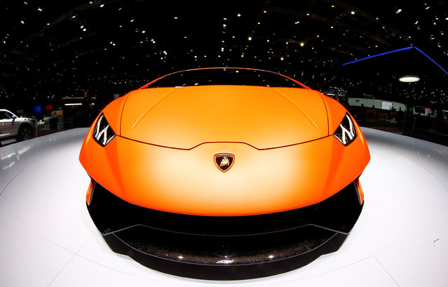 A Lamborghini Huracan Performante car is seen during the 87th International Motor Show at Palexpo in Geneva, Switzerland March 8, 2017. (Photo by Arnd Wiegmann/Reuters)