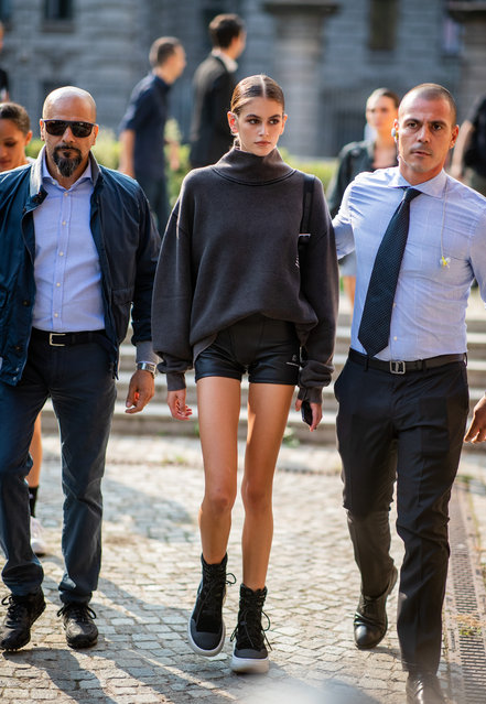 Kaia Gerber wearing cycle shorts, grey knit is seen outside Max Mara during Milan Fashion Week Spring/Summer 2019 on September 20, 2018 in Milan, Italy. (Photo by Christian Vierig/Getty Images)