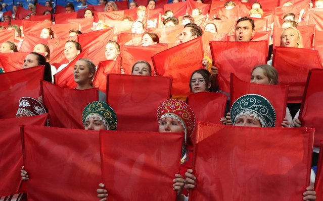 Participants in an event marking the 75th birthday of the melody of the Russian national anthem at Gazprom Arena Stadium in St. Petersburg, Russia on September 1, 2019. (Photo by Peter Kovalev/TASS)