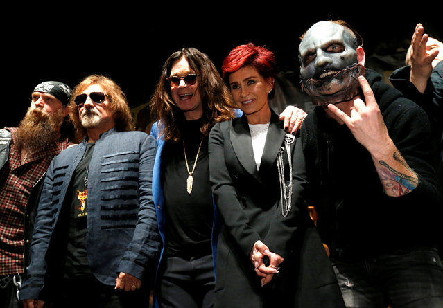 "Ozzy Osbourne (C) and his wife Sharon pose with Geezer Butler (2nd L) of Black Sabbath, Zakk Wylde (L) and Slipknot member Corey Taylor (R) at a news conference to announce the ""Ozzfest Meets Knotfest"" music festival at the Hollywood Palladium in Los Angeles, U.S., May 12, 2016. (Photo by Mario Anzuoni/Reuters)"