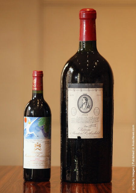 A rare Jeroboam of Chateau Mouton Rothschild from 1953 and a bottle of Chateau Mouton Rothschild from 1982
