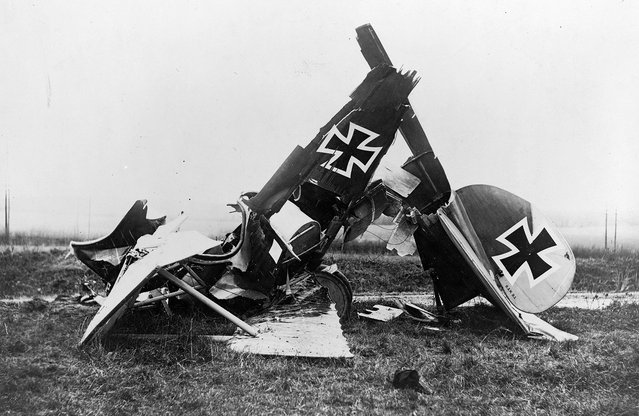 Wreckage of a German Albatross D. III fighter biplane. (Photo by Library of Congress via The Atlantic)